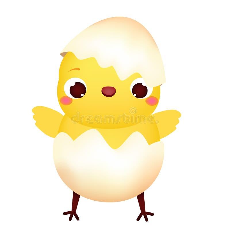 Szczęśliwy kreskówka kurczak w jajku Śliczny Wielkanocny pisklęcy charakter Odosobniona wektorowa klamerki sztuka ilustracji