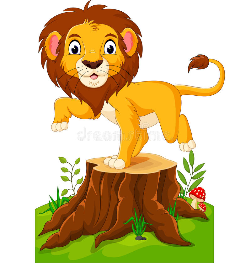 Szczęśliwy kreskówka lew royalty ilustracja