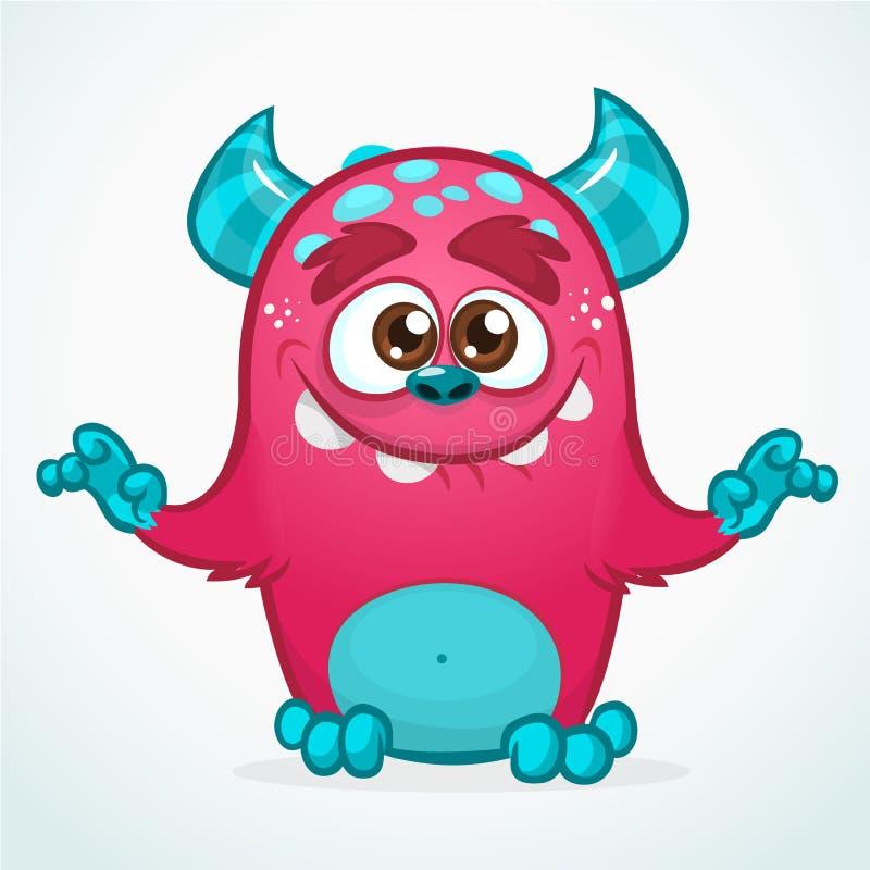 Szczęśliwy kreskówka potwór Halloween różowy owłosiony potwór Duża kolekcja śliczni potwory Halloweenowy charakter ilustracja wektor