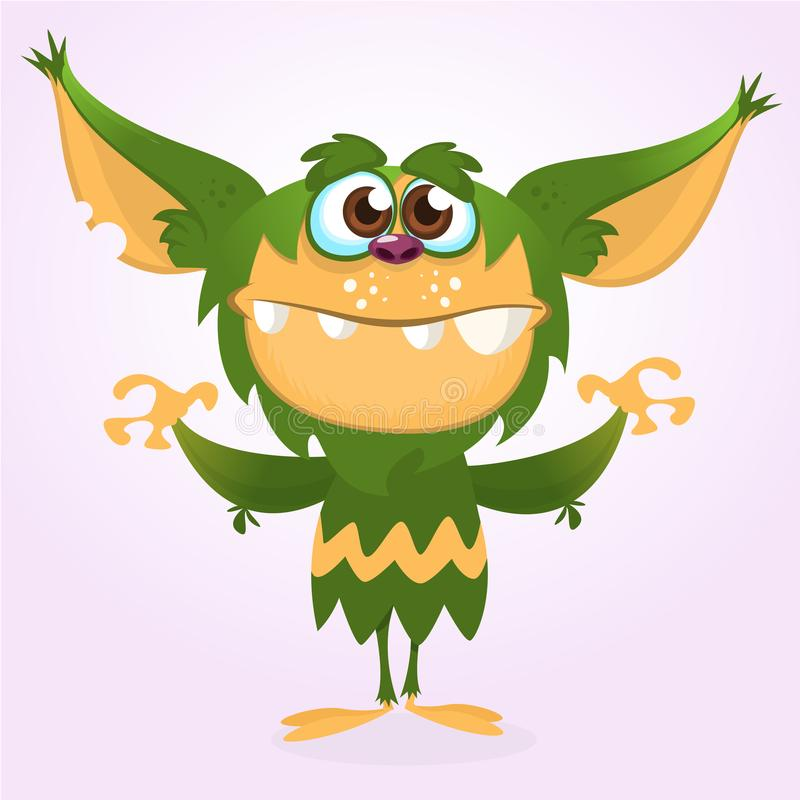 Szczęśliwy kreskówka potwór Halloween zielony owłosiony potwór Duża kolekcja śliczni potwory Halloweenowy charakter royalty ilustracja