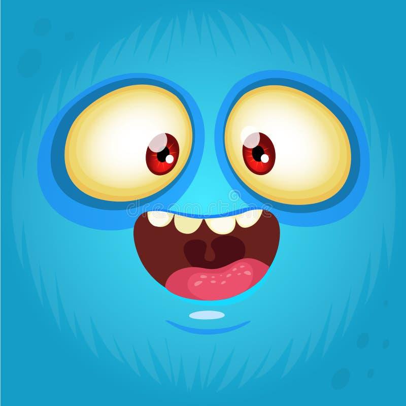 Szczęśliwy kreskówka potwora twarzy avatar halloween ilustracyjna księżyc noc Druki projektują dla koszulek royalty ilustracja