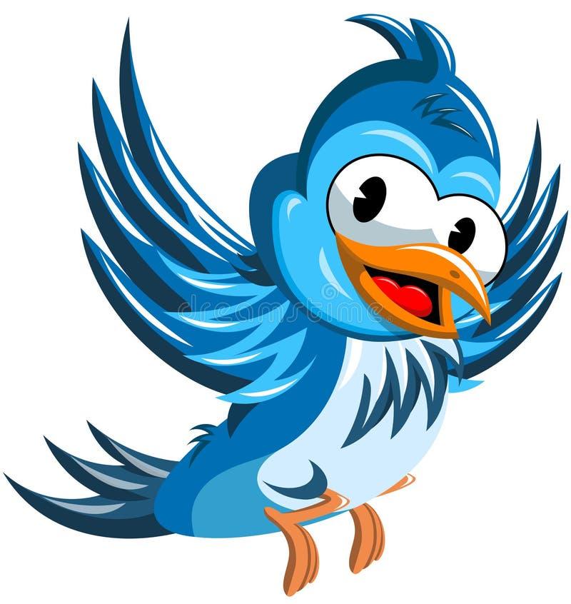 Szczęśliwy kreskówka ptaka latanie ilustracja wektor