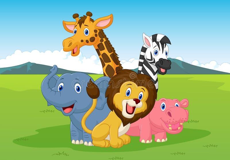 Szczęśliwy kreskówka safari zwierzę royalty ilustracja
