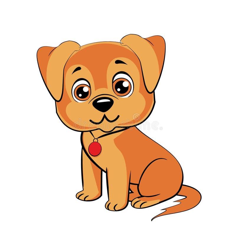 Szczęśliwy kreskówka szczeniaka obsiadanie, portret śliczny mały pies jest ubranym kołnierz Psi przyjaciel ilustracji