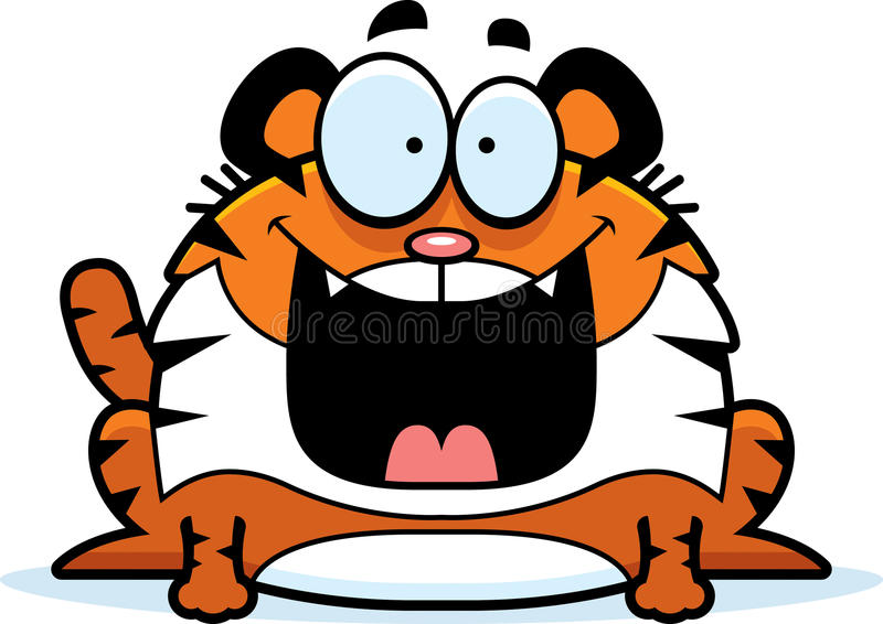 Szczęśliwy kreskówka tygrys ilustracji