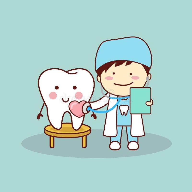 Szczęśliwy kreskówka ząb, dentysta i ilustracji