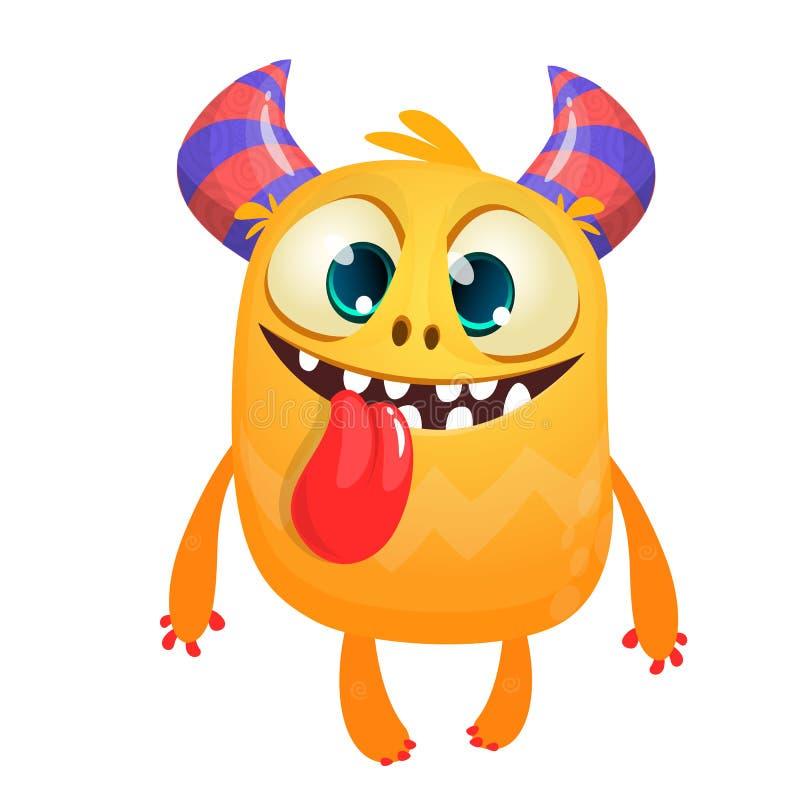 Szczęśliwy kreskówki dziecka potwór pokazuje długiego jęzor Halloweenowa wektorowa pomarańcze i rogaty potwór ilustracji