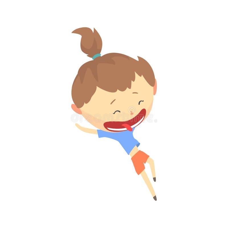 Szczęśliwy kreskówki dziewczyny bieg, dzieciak plenerowej aktywności wektoru ilustracja ilustracja wektor