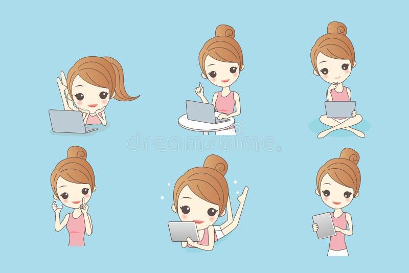 Szczęśliwy kreskówki kobiety use komputer ilustracji