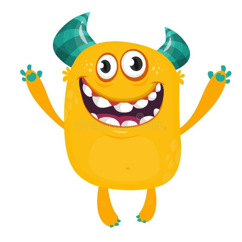 Szczęśliwy kreskówki pomarańcze potwór Halloweenowa wektorowa ilustracja z podnieceniem potwór royalty ilustracja