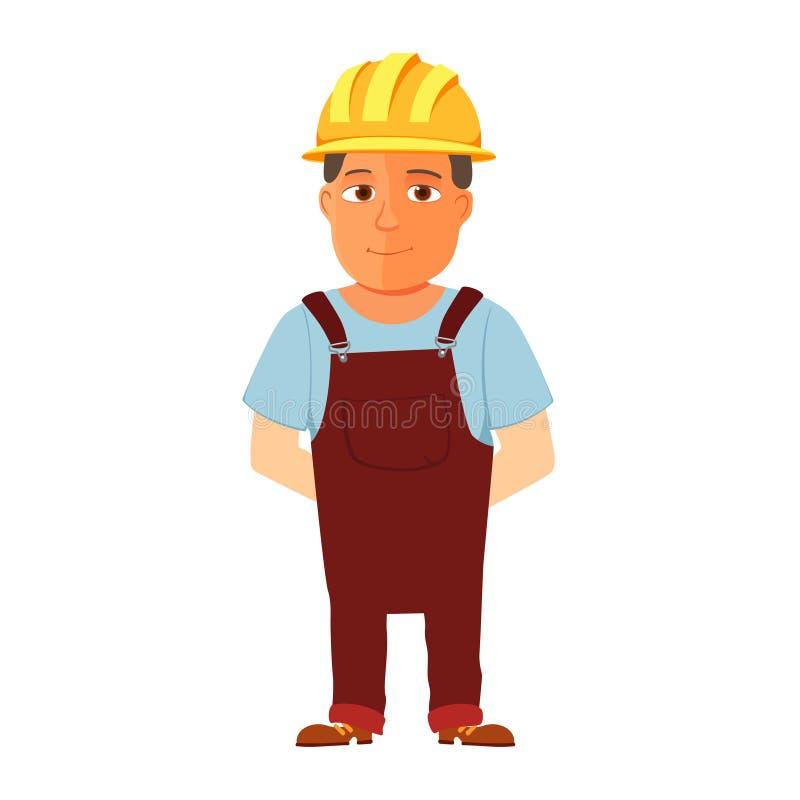 Szczęśliwy kreskówki repairman, pracownik budowlany z zbawczym kapeluszem lub wektor ilustracji
