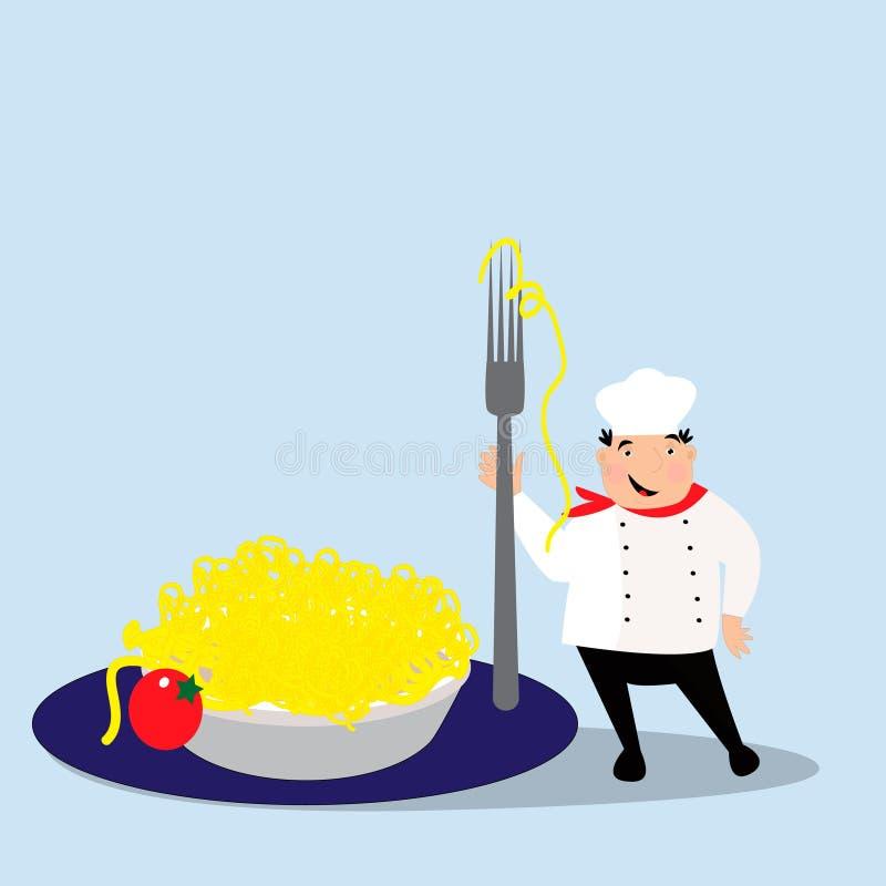 Szczęśliwy kucharz z kapeluszem w mundurze Szef kuchni z makaronem na talerzu royalty ilustracja
