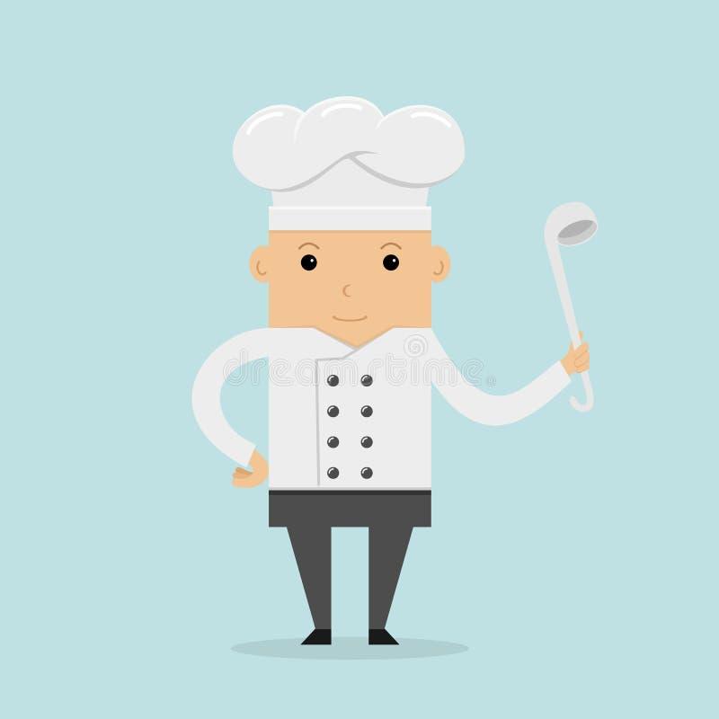 Szczęśliwy kucharz z kopyścią royalty ilustracja
