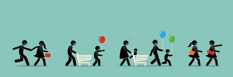 Szczęśliwy kupujących robić zakupy royalty ilustracja