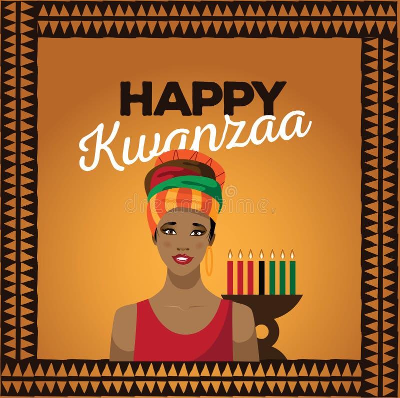 Szczęśliwy Kwanzaa z Afrykańską kobietą ilustracji
