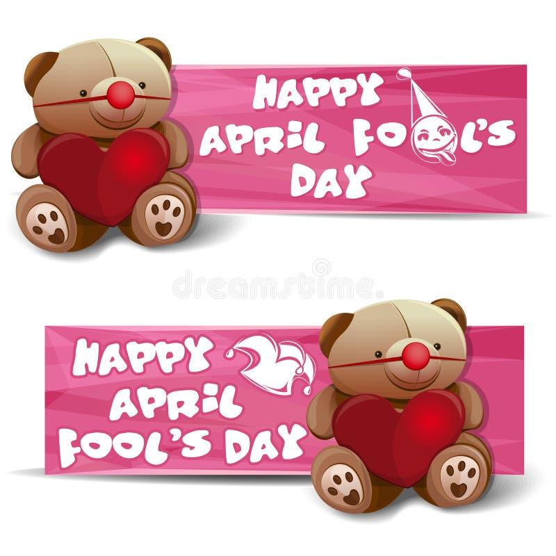 Szczęśliwy Kwietnia durnia ` s dzień sztandary odłogowania royalty ilustracja