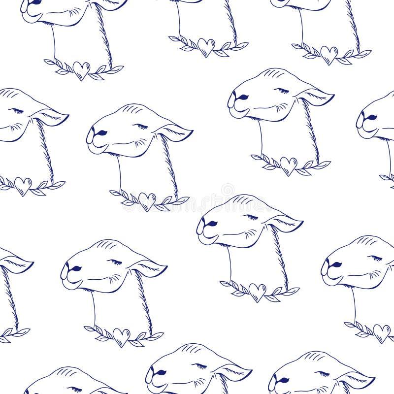 Szczęśliwy Lama Śliczna ręka rysująca, kawai lama stylowy zwierzę, bezszwowy wzór ilustracja wektor