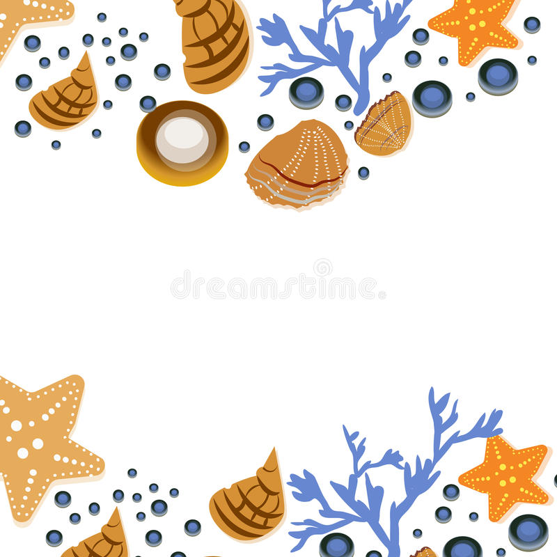Szczęśliwy lata kartka z pozdrowieniami z seashells na białym tle Kwadratowa rama od ręka rysującego morza łuska i gwiazdy, koral ilustracja wektor