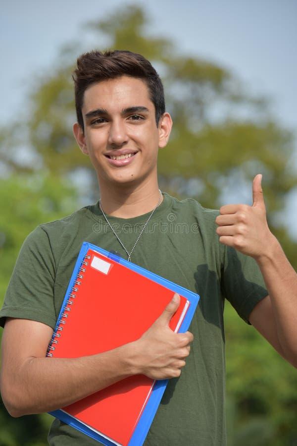 Szczęśliwy Latynoski Męski Nastoletni Militarny uczeń zdjęcie stock