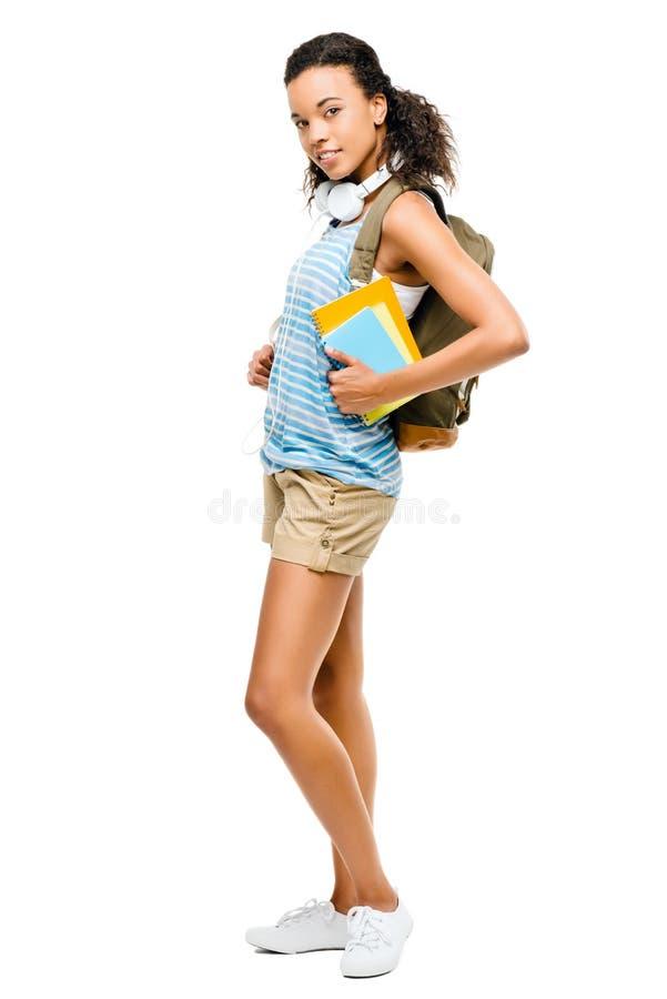 Szczęśliwy latynoski uczeń iść z powrotem szkoła obraz stock
