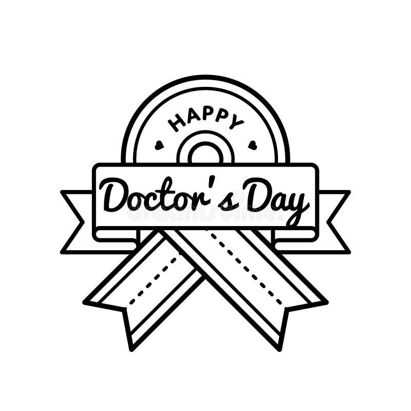 Szczęśliwy lekarka dnia powitania emblemat ilustracji