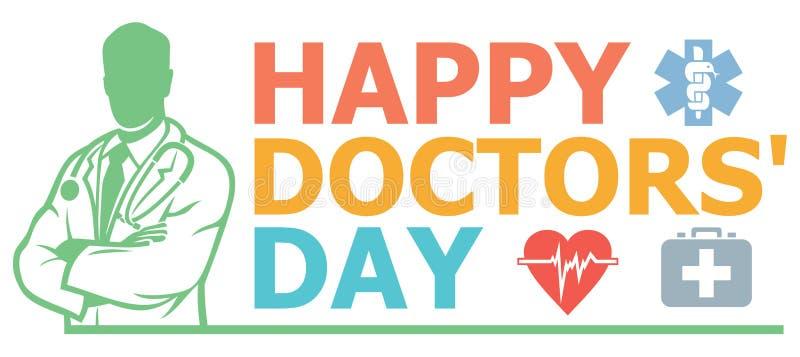 Szczęśliwy lekarka dnia projekt royalty ilustracja