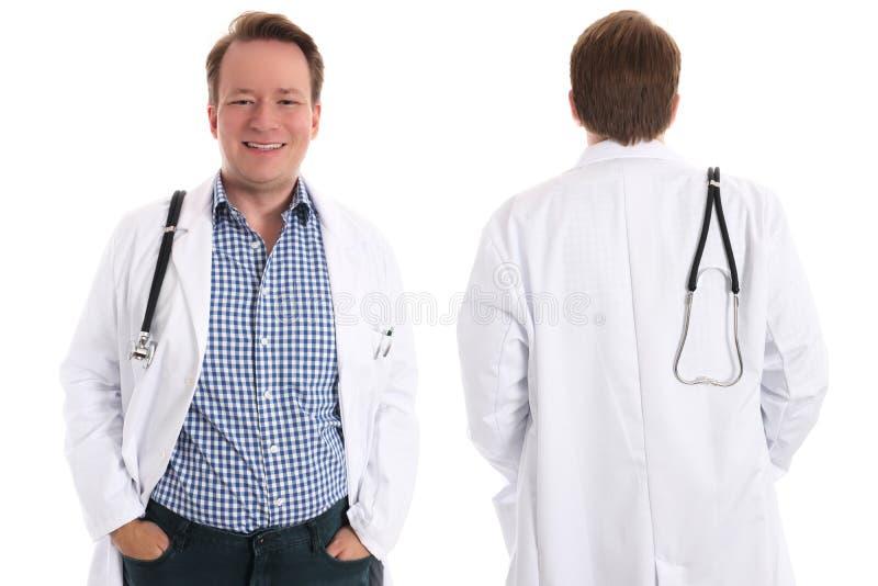 Szczęśliwy lekarz, przód i plecy, zdjęcia stock