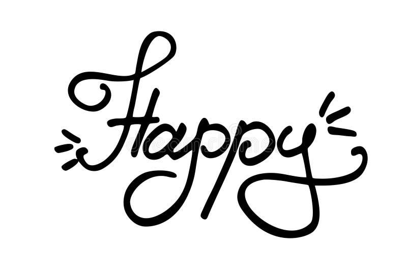 Szczęśliwy literowanie na białym tle ilustracja wektor