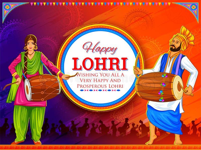 Szczęśliwy Lohri wakacyjny tło dla mieszkana pendżabu festiwalu ilustracja wektor