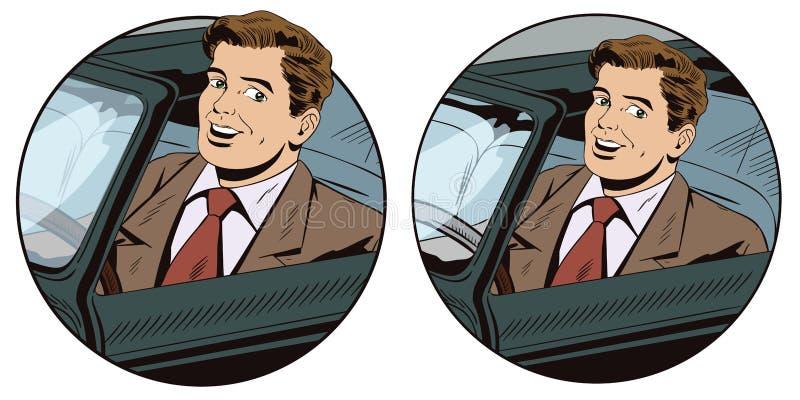 Szczęśliwy mężczyzna jedzie kabrioletu zapasu ilustrację ilustracja wektor