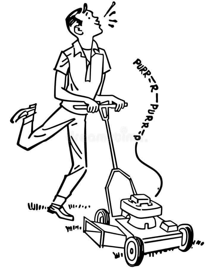 Szczęśliwy mężczyzna kośby gazon ilustracja wektor