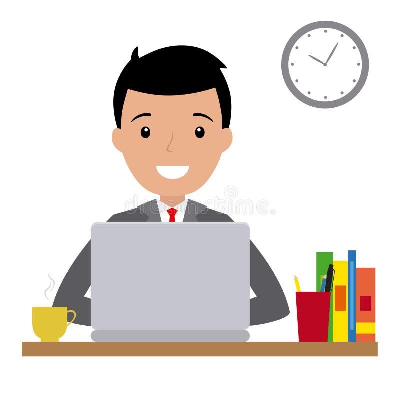 Szczęśliwy mężczyzna obsiadanie przy jego biurkiem ilustracja wektor