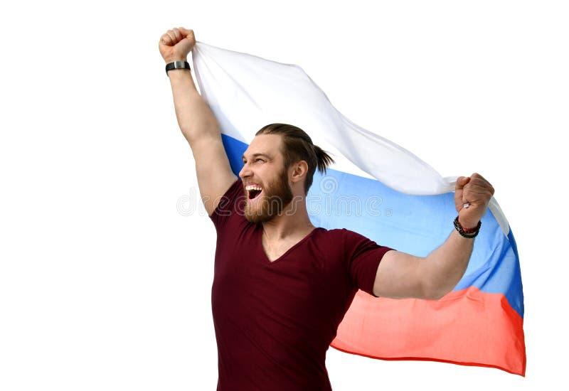 Szczęśliwy mężczyzna piłki nożnej fan z rosjanin flaga uśmiechniętą odświętnością odizolowywającą na bielu obraz royalty free
