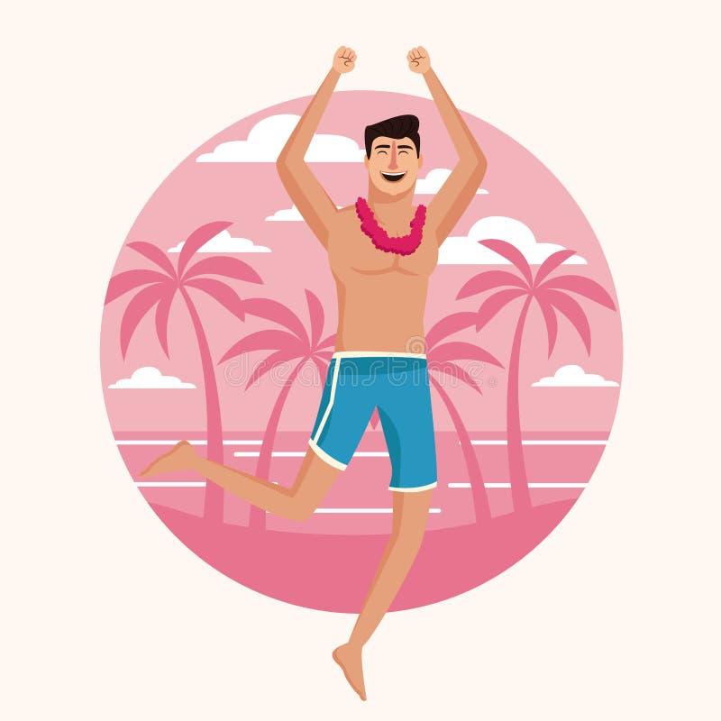 Szczęśliwy mężczyzna przy plażą ilustracja wektor