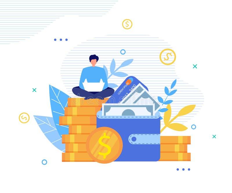 Szczęśliwy mężczyzna Robi pieniądze Online na laptop metaforze ilustracja wektor