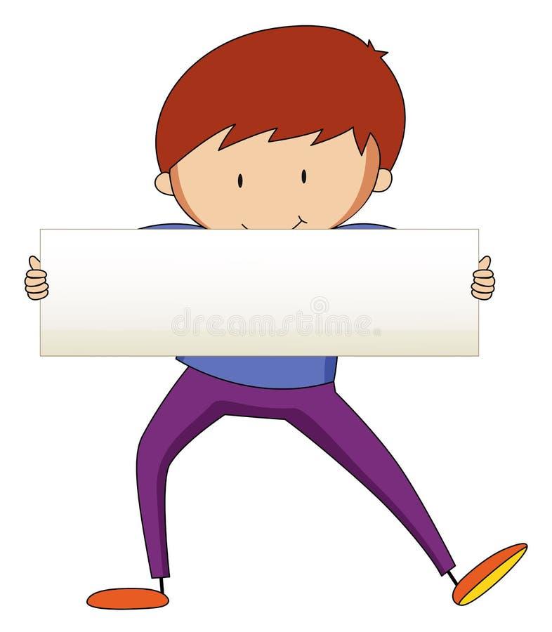 Szczęśliwy mężczyzna trzyma białego papier royalty ilustracja