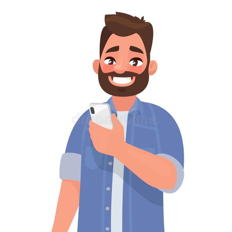 Szczęśliwy mężczyzna trzyma smartphone Osoba i gadżet Communicat royalty ilustracja