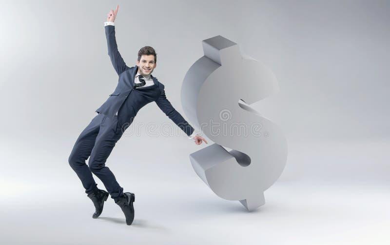 Szczęśliwy mężczyzna z dolarową oceną ilustracja wektor