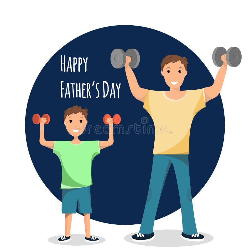 Szczęśliwy mężczyzny i dziecka Trwanie Stażowy Bodybuilding royalty ilustracja