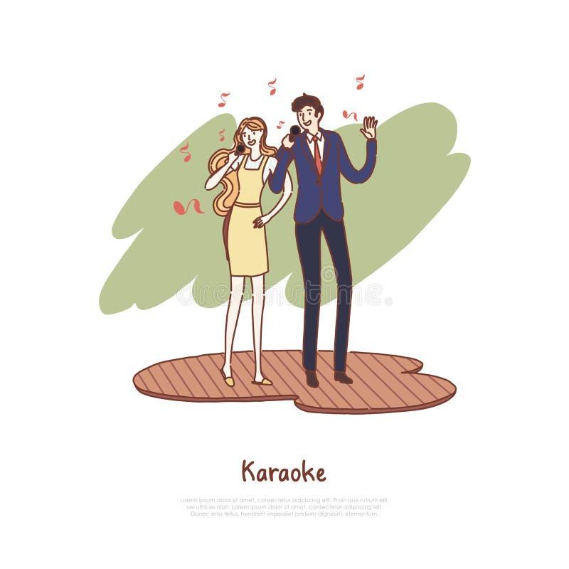 Szczęśliwy mężczyzny i kobiety mienia mikrofonów, męża i żony śpiewacki duet, muzykalny czas wolny, data przy karaoke klubu sztan royalty ilustracja
