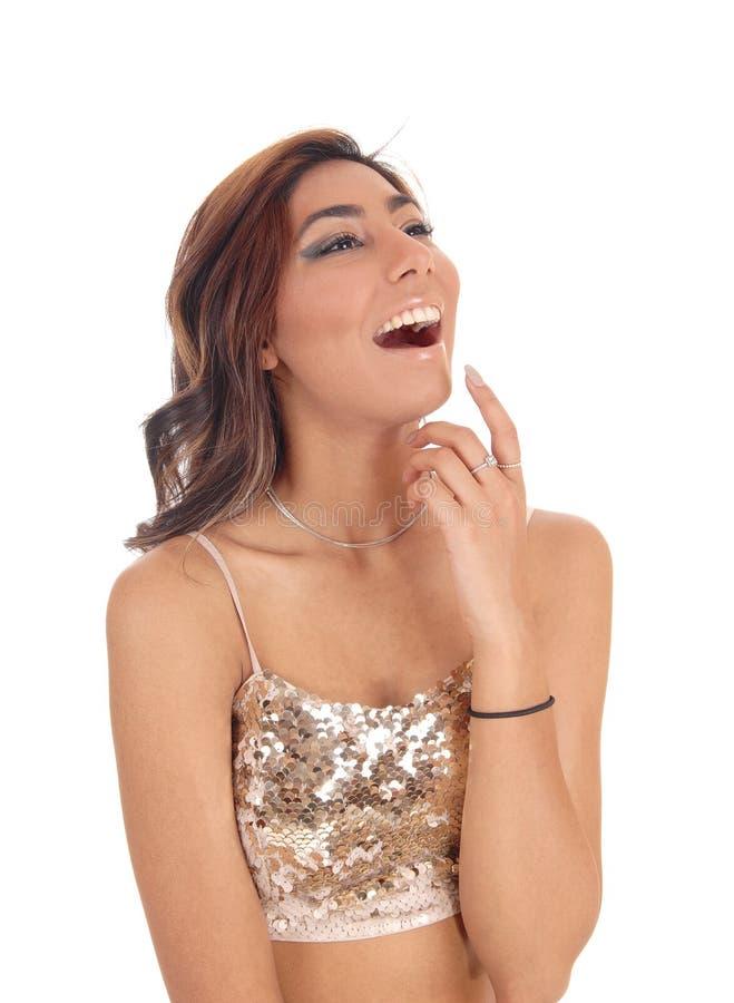 Szczęśliwy młodej dziewczyny śmiać się głośny zdjęcie stock