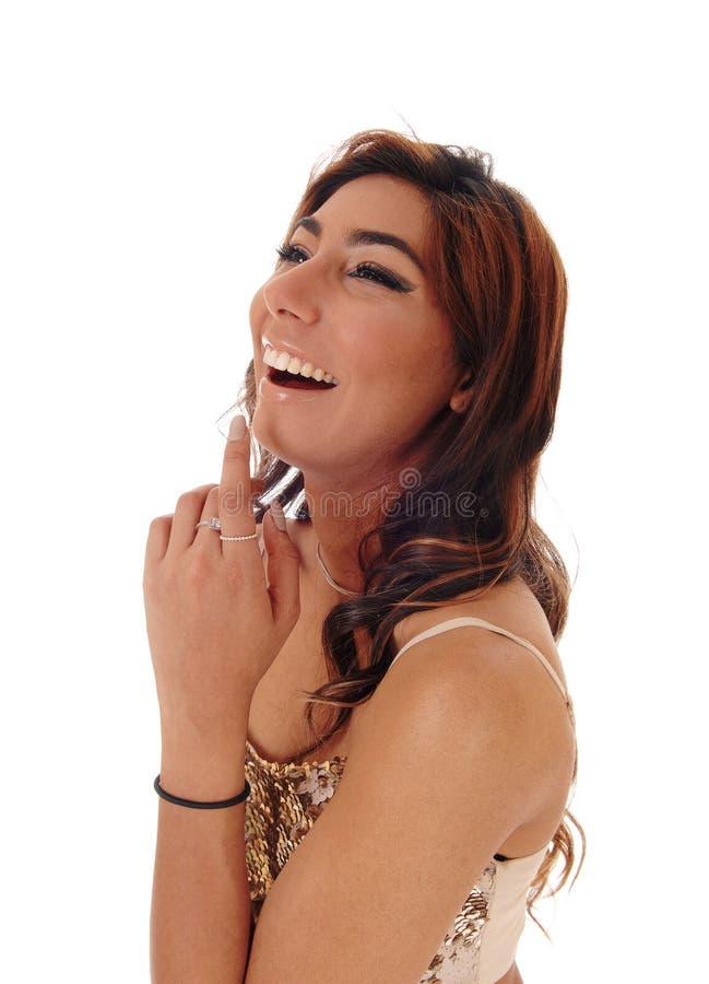 Szczęśliwy młodej dziewczyny śmiać się głośny fotografia royalty free