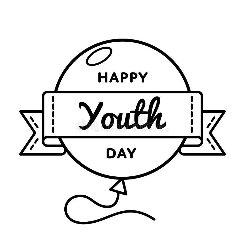 Szczęśliwy młodość dnia powitania emblemat ilustracji
