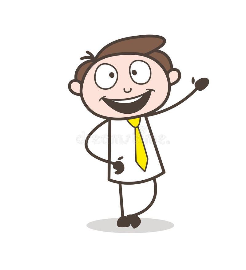 Szczęśliwy Młody Biurowy pracownik Gestykuluje ręka wektoru ilustrację ilustracji