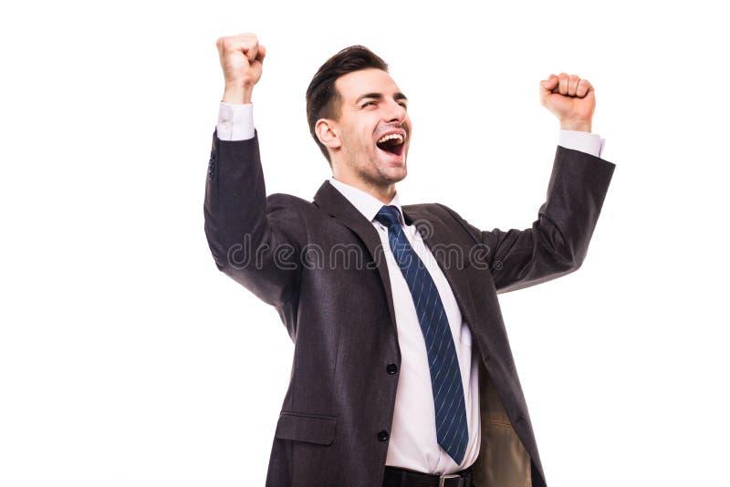 Szczęśliwy młody biznesowego mężczyzna odświętności sukces krzyczy upwards obrazy stock