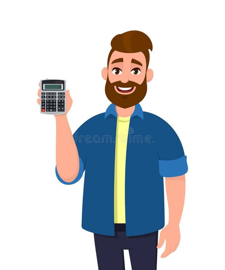Szczęśliwy młody brodaty mężczyzny seans, mienie lub cyfrowy kalkulatora przyrząd w jego ręce Nowożytny styl życia, biznes i fina ilustracji