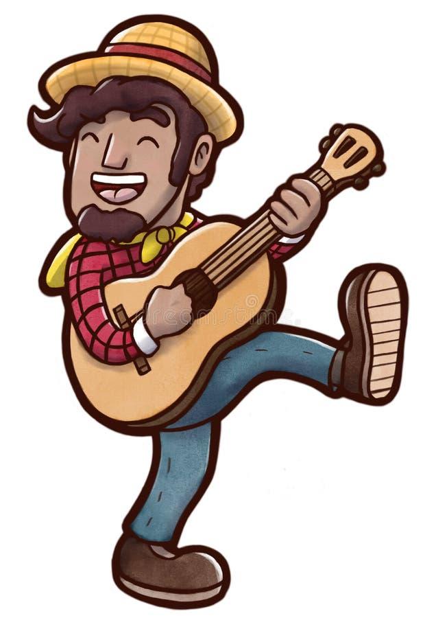 Szczęśliwy młody człowiek bawić się gitary akustycznej i tana odprowadzenie ilustracja wektor