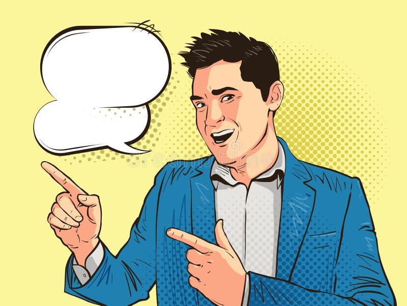 Szczęśliwy młody człowiek, biznesmen lub uczeń rysujący w wystrzał sztuki komiczki retro stylu, Kreskówka argot wektoru ilustracj royalty ilustracja