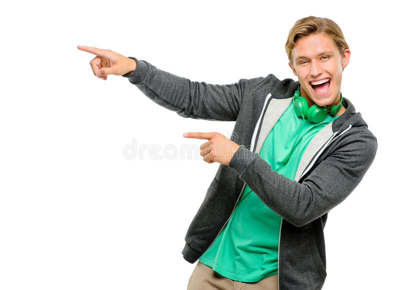 Szczęśliwy młody człowiek dobry pomysłu ono uśmiecha się odizolowywam na białym backgrou obraz stock