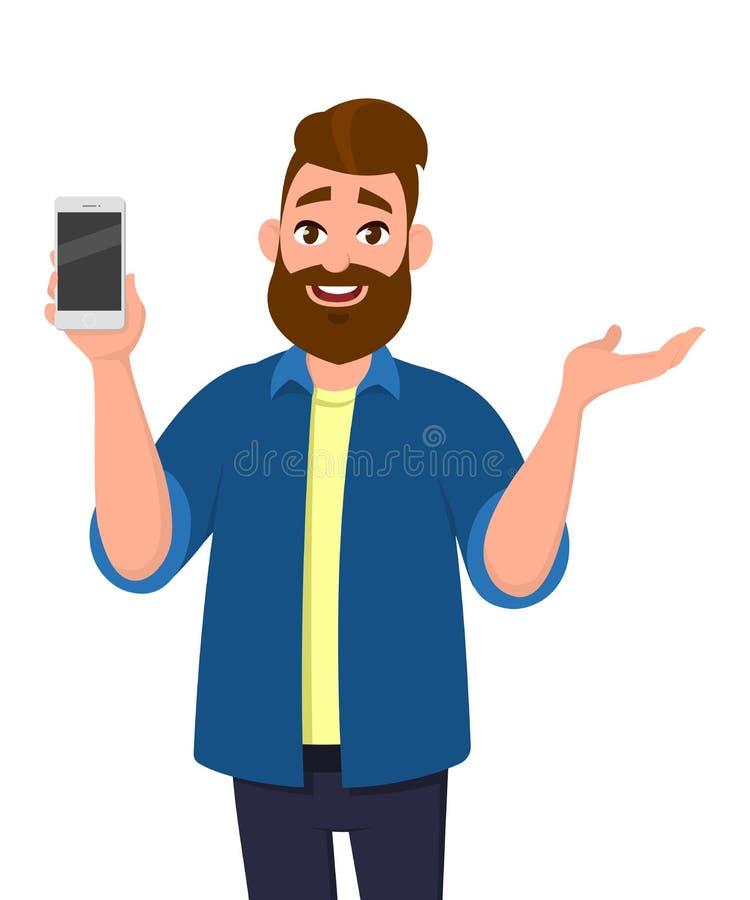Szczęśliwy młody człowiek pokazuje smartphone i pokazuje ręka gest ilustracja wektor